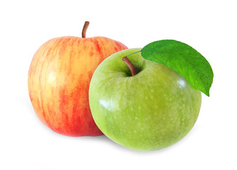 whole red and green apple with leaf isolated on white background with clipping path
