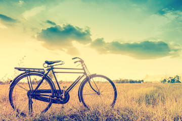 beautiful landscape image with Bicycle in vintage tone style