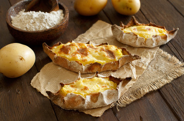 Traditional karelian pasties with potatoes