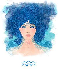 Illustration of Aquarius astrological sign as a beautiful girl