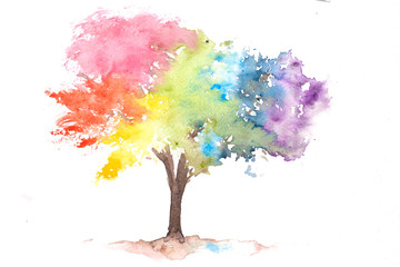 Rainbow color tree on white, watercolor hand painted