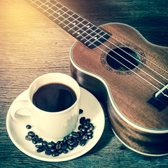 coffee cup and coffee beans and Ukulele,for background,vintage p