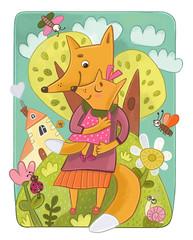 Мама лиса с лисенком на руках рядом с домиком и лесом. Детская иллюстрация.