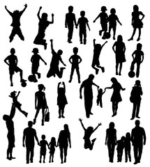 Silhouette of Children Playing and Being Happy Family