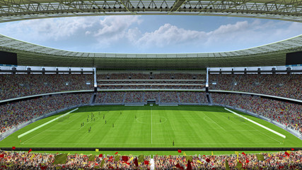 inside the football stadium 3d rendering