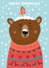 Cute bear with a bird. Christmas card