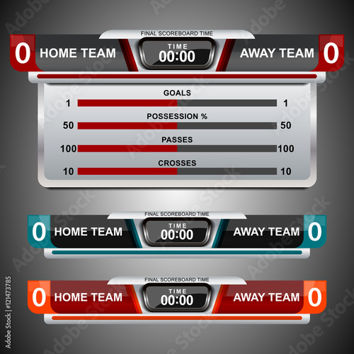 Scoreboard Template Design For Football And Soccer, Vector