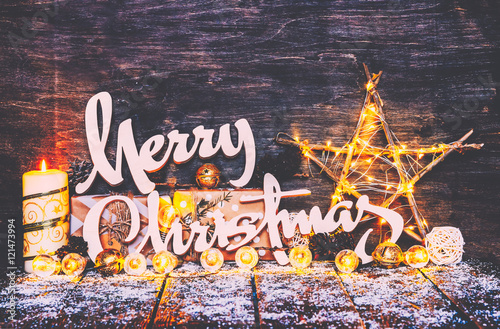 Merry Christmas Background Fairy LightsWood Craft Rustic Xmas With Wooden Letters