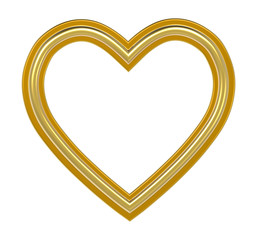 Golden heart picture frame isolated on white. 3D illustration.