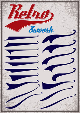 Big set of calligraphic elements for decor and design inscriptions in retro style. Splashes for retro style inscriptions. Vector illustration.