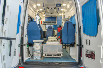 Inside of an ambulance for the hospital
