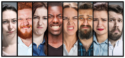 The collage of young male and female unhappy face expressions