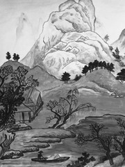 Chinese landscape, painting