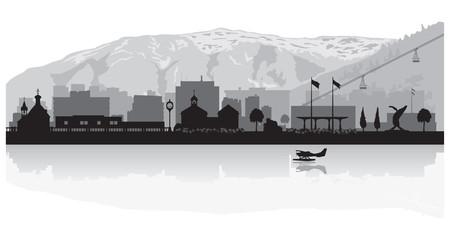 Juneau Alaska city skyline silhouette
