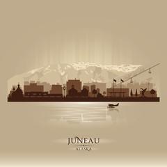 Juneau Alaska city skyline vector silhouette