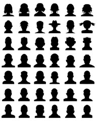 Black silhouettes of avatar profile, vector