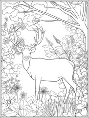 Coloring page with deer in forest.