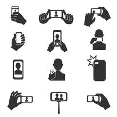 Selfie photo vector icons set