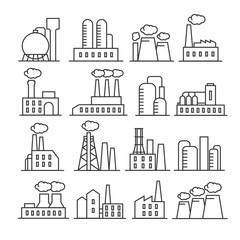 Factory and plant thin line vector icons