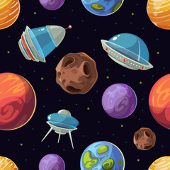 Cartoon space with planets, spaceships, ufo vector seamless background