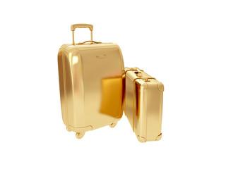 Golden suitcase. 3D rendering