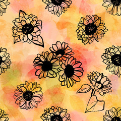 Seamless pattern of freehand vector sunflowers on abstract golde