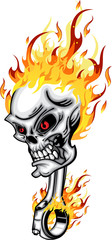 Skull head piston on Fire red eye with Flames Vector Illustration