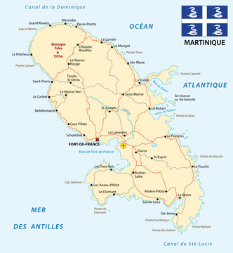 road map of Martinique with flag