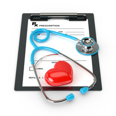 3d rendering of rx prescription and stethoscope over white