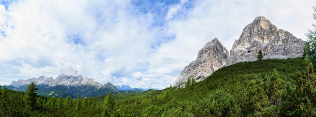 Wide panorama on mounts Pelmo and Civetta (Dolomites)