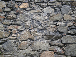 Manmade wall of stones