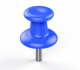 3D Isolated Blue Pushpin. Business Memo Reminder Concept.