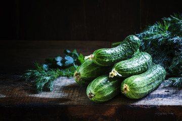Freshly harvested cucumbers, rural style, selective focus