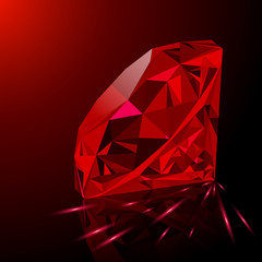 Realistic shining red ruby jewel with reflection, red glow and light sparks on gradient background. Can be used as part of logo, icon, background, web decor or other design.