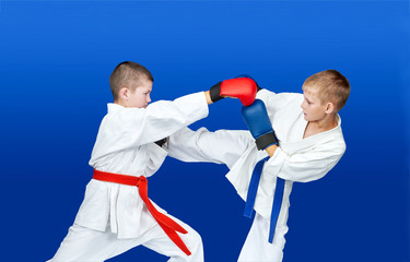 Boys with red and blue belts are hitting blows arm and leg