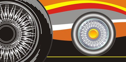 Modern wheel on a abstract background, vector editable illustration