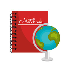 cartoon book and globe world graphic vector illustration eps 10