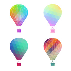 The air balloon colorful icon. Aerostat symbol. Flat Vector illustration. Set bright air balloons on white background.