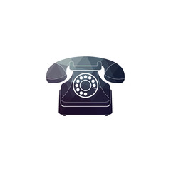 Vector icon of a retro phone. Vintage phone on white background.