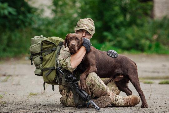 Man Hugs Dog