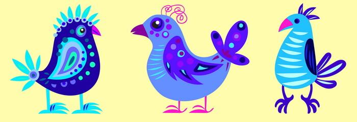 illustration of three fairy blue bird