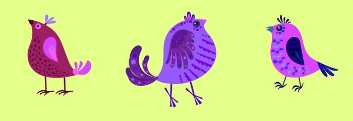 illustration of three fairy purple bird