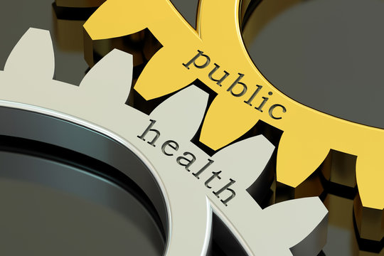 public health, concept on the gearwheels, 3D rendering