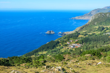 Panoramic view of Teixido, small rural village in Galicia, northern Spain