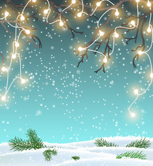 Christmas background, winter landscape with electric decorative lights, illustration