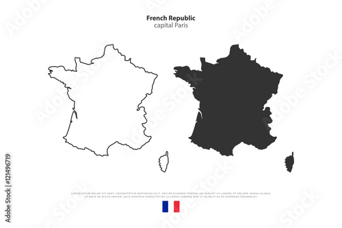 French Republic Map Outline And Official Flag Icon Isolated On - Political map outline