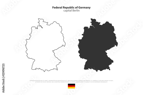 Federal Republic Of Germany Map Outline And Official Flag Icon - Germany map template