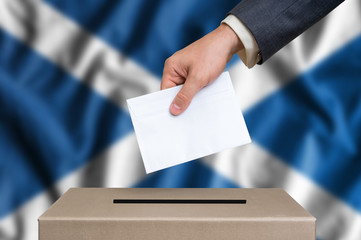 Election in Scotland - voting at the ballot box