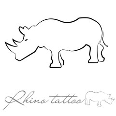 silhouette of a rhinoceros for tattoo or logo
