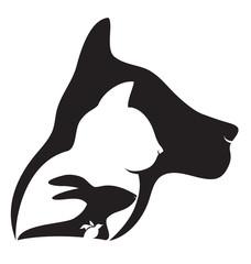 Logo pets heads logo silhouettes vector
